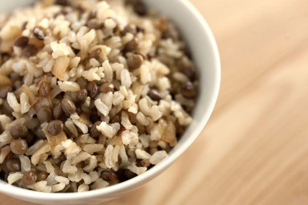 Mujaddara. Mejadra. Mudardara bowl. Brown rice, lentils and onion. Lateral view. Dinner Lunch Mejadra Mudardara Mujaddara Natural Light Bowl Brown Rice Close-up Food Food And Drink Healthy Eating Lentils Middle East Style Middle Eastern Food No People Onion Studio Photography Whole Grain Rice