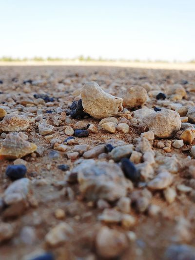 Surface level of stones on beach