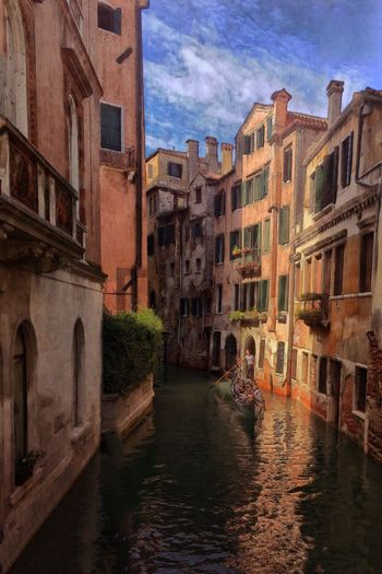 Exploring Style Gondola Ride Gondola Venezia Venice, Italy Vacation Time Vacation Gondolier Tourists Tourist Destination Canals And Waterways Canal Old Buildings Ancient Architecture Painterly Bright Colors