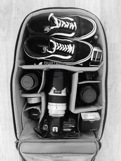 Camera Bag Camera Bag Cameraporn Photographer Life Technology Close-up No People Communication Indoors  Connection Still Life Directly Above Equipment