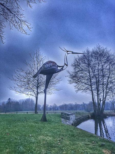 Statue Animal Themes Bird Iron - Metal Welding Work Sculpture Mastery Bird Sculpture Heron Man Made Object