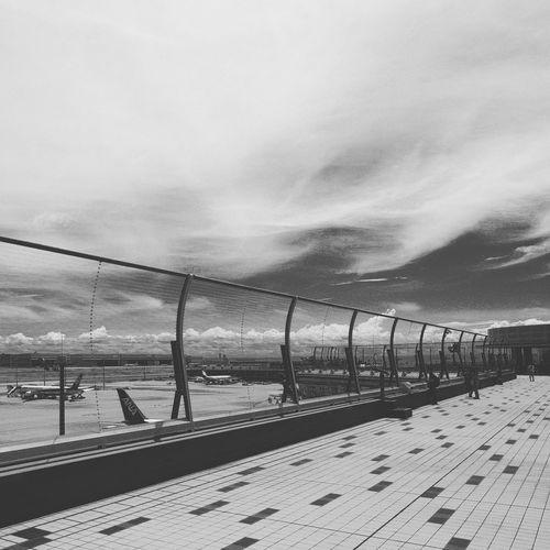 Instagram Edit Blackandwhite Fujifilm XF16mmF1.4 Xpro1 Airport Japan Sky Nature Cloud - Sky Day No People Transportation Fence