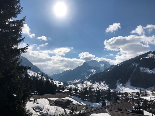 Piece of art Mountains Clouds Blue Sky Sun Glow Sunshine I❤️Gstaad Bolonie Style Bolonie Art Bolonie Mountain Sky Snow Building Exterior Built Structure No People Architecture Outdoors Nature Beauty In Nature Day