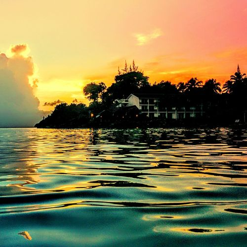Pictureoftheday Sea Water Ocean Sun Sunset Coconutpalm Horizon Landscape Beach Hotel Tourist Colors F.W.I Carribean Guadeloupe Gwada