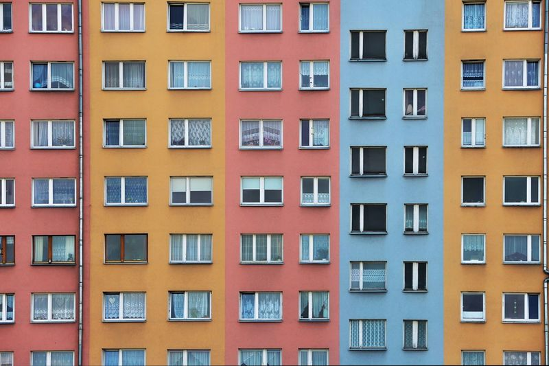 Colourful urban geometry architecture building