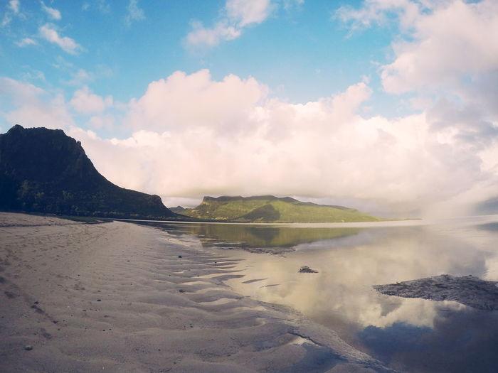 Natural Beauty called Mauritius. Landsape Mauritius Islander Mountains Sea And Sky Indian Ocean Beach