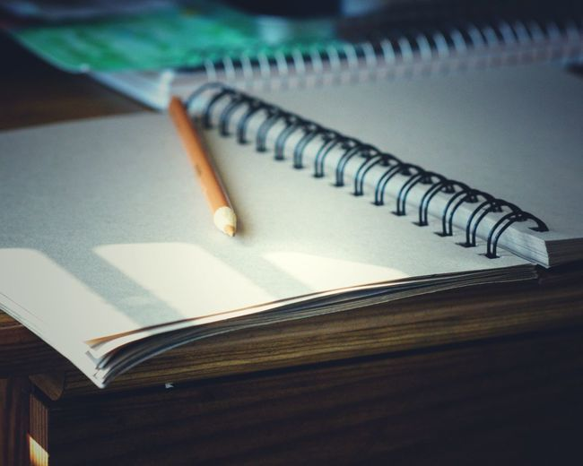 Wait. Table Indoors  No People Spiral Notebook Close-up Education Page Note Pad Writing Instrument Day