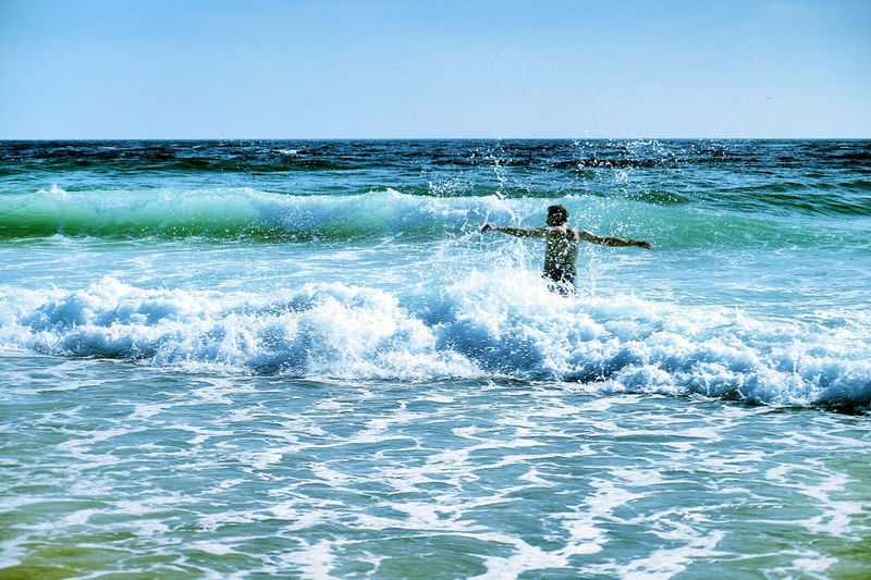 Water Swimming Waves Waves, Ocean, Nature Sun Enjoying Life Clear Water Clear Blue Sky Moments Of Happiness Analogue Sound Exploring Fun The Traveler - 2019 EyeEm Awards