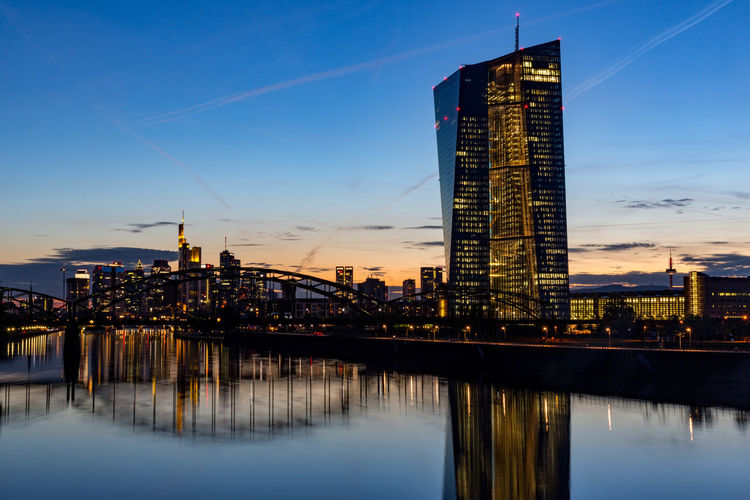 European central bank with financial district in frankfurt.