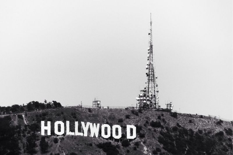 Hollywood Sign last Year Black And White