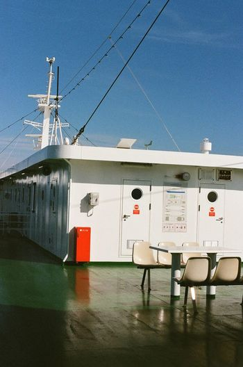 Ship against clear blue sky