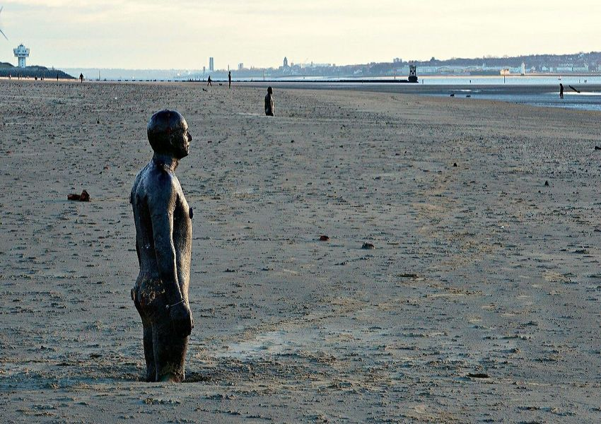 """""""It ends all things: birds, trees, flowers, mountain tops, and business; it grinds stones to sand, and as terrible as it is, and it's the most beautiful thing we have in our lives - time."""" - Brandon Webb. Distant View Liverpool Skyline Crosby Beach Anthony Gormley Sculptures Anthony Gormleys Another Place Beach Sea Buried In Sand Cast Iron Man Mersey Estuary Irish Sea Tranquility Sparkling Sea And Sand The Sea Reclaims"""