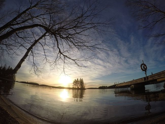 Sunset Sun Winter Lake Heinola Finland Suomi Water Cold Gopro Birch Birch Tree Järvi Island Cabinlife