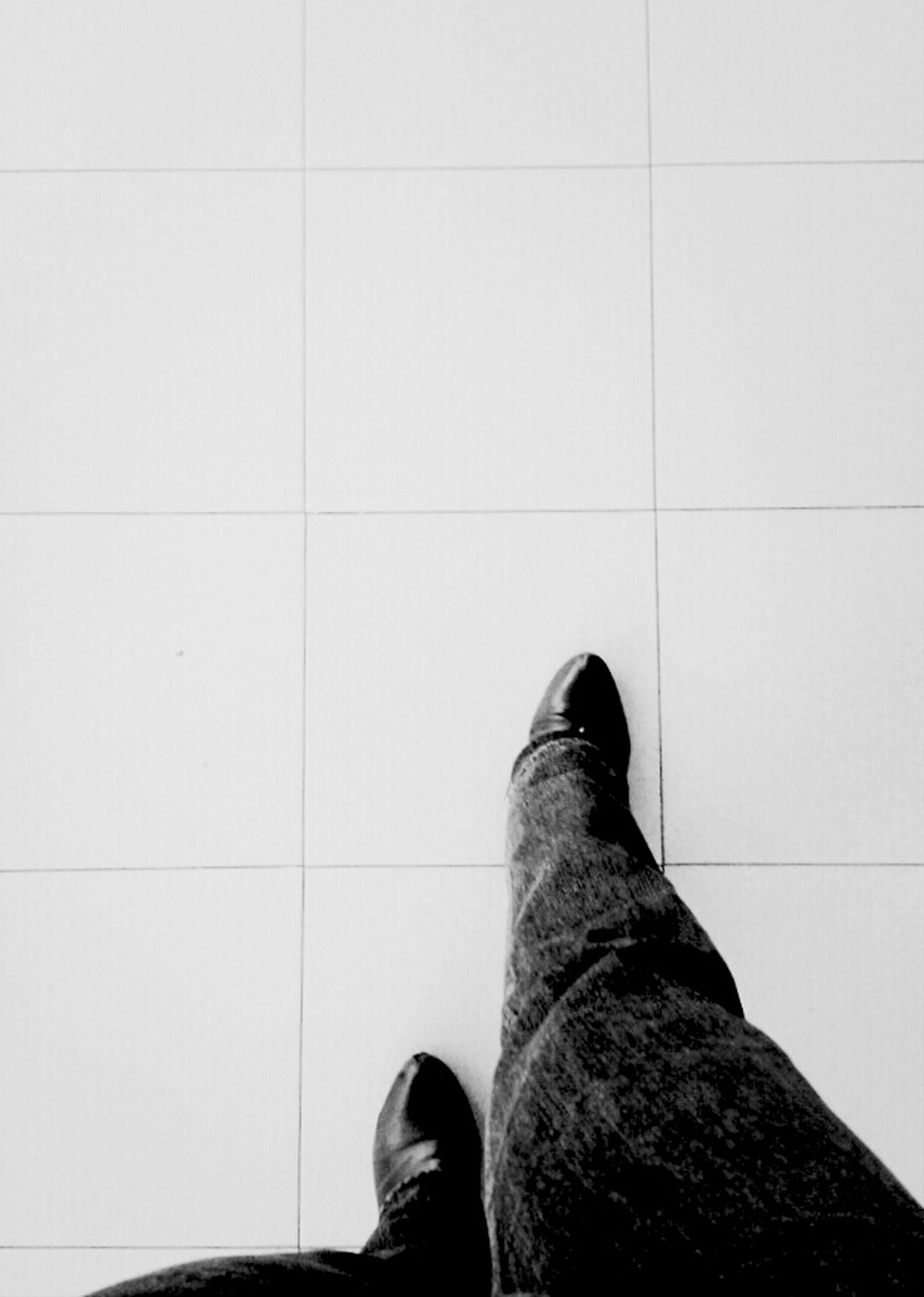 low section, person, shoe, personal perspective, human foot, footwear, standing, tiled floor, indoors, part of, high angle view, flooring, men, unrecognizable person, tile, human limb, lifestyles