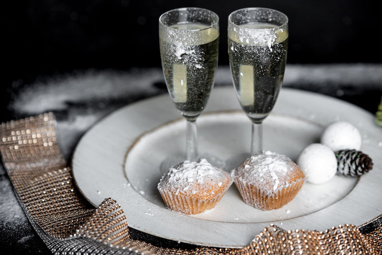 Happy New Year New Year's Eve Romance Evening Night New Year Celebration Celebration Christmas Winter Close-up Sweet Food Food And Drink Bauble Sprinkling Puff Pastry Served Pastry Pie Dessert Christmas Ornament Christmas Decoration