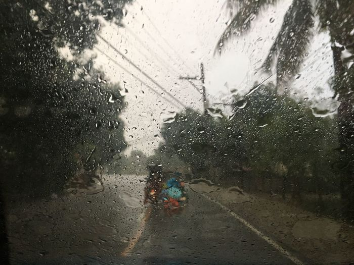Wet windshield Rain Wet Drop Rainy Season Weather Window RainDrop Water Car Indoors  Land Vehicle Torrential Rain Day Cleaning Road Sky One Person People