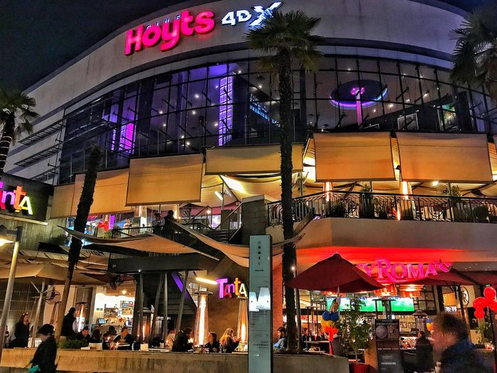 Hoyts4DX Hoyts Illuminated Store Night Large Group Of People Retail  Group Of People Building Exterior Built Structure Architecture Real People Outdoors Men City Lifestyles Women Awning Nightlife Crowd Neon People