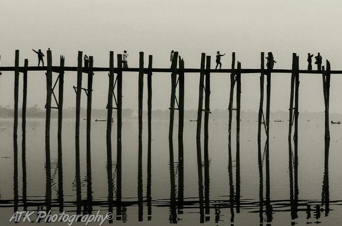U Bein Bridge . Ubeinbridge Black And White Photography Myanmar Landscape Landscape_photography Mandalay