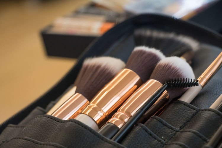 Beauty Beauty Product Black Color Blush - Make-up Brown Choice Close-up Connection Eyeshadow Focus On Foreground Group Of Objects Indoors  Large Group Of Objects Make-up Make-up Brush No People Personal Accessory Selective Focus Still Life Table Technology Variation