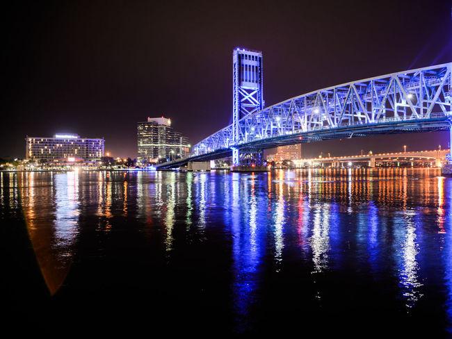 Night Architecture City Reflection Water Illuminated River Building Exterior No People Cityscape Jacksonville Bridge Nightshot Skyline