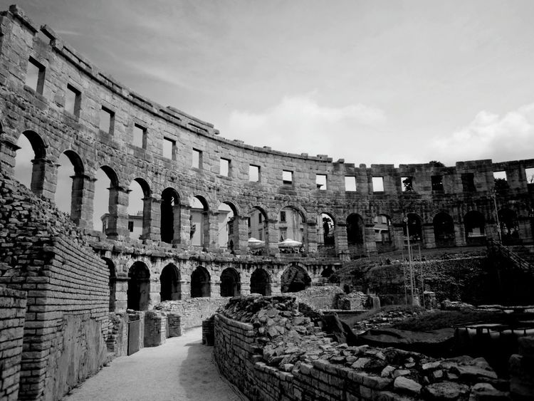 Istria Old Ruin History Ancient Travel Destinations Architecture Ancient Civilization Outdoors City No People Day Black & White Monochrome Anphitheater Tourist Attraction  Travel Photography Travel Destination Culture And Tradition Architectural Column Arch Istria Scenics Detail Black And White Black And White Photography