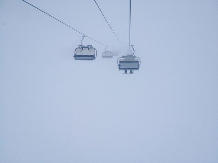 Cable way in total fog Skiing Sochi Winter Sochi Mist Fog Cable Car Cable Way Cableway Hanging Ski Lift Snow Cold Temperature Snowing Winter