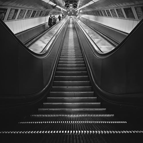 """"""" An escalator can never break: it can only become stairs. You should never see an Escalator Temporarily Out Of Order sign, just Escalator Temporarily Stairs. Sorry for the convenience. """" - Mitch Hedberg Bw_collection EyeEm Best Shots Subway AMPt Community"""