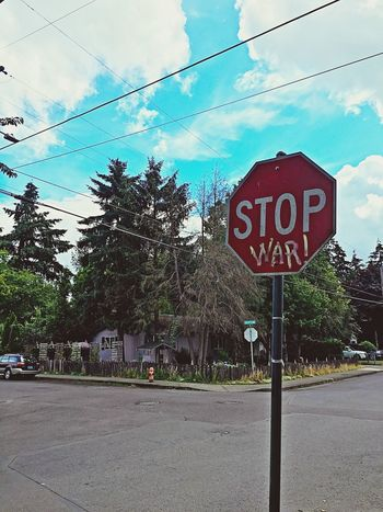Stop Sign Signs Red Political Political Street Art Graffiti Portland, OR Portland IPhoneography Street Corner Press For Progress