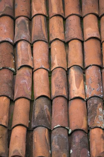 View of a roof covered with red mud tiles. Abundance Architecture Arrangement Backgrounds Building Building Exterior Built Structure Close-up Day Full Frame In A Row Large Group Of Objects No People Outdoors Pattern Repetition Roof Roof Tile Side By Side Textured