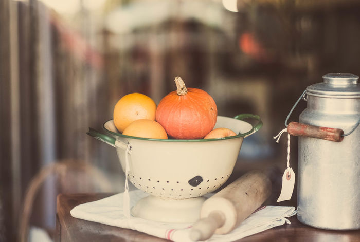 Window Display Arrangement Close-up Container Day Display Focus On Foreground Freshness Indulgence No People Orange Color Pumpkin Selective Focus Still Life Window