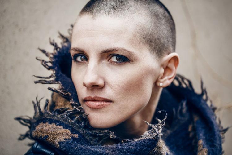 Close-up portrait of bald woman