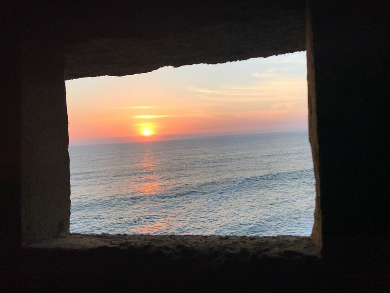 Pillbox view Sea Sunset Horizon Over Water Tranquility Orange Color Outdoors Not Your Normal Place To Take A Picture Framing View From A Pillbox In Cornwall At Loe Bar Outings  Exploring New Ground Coastal Feature Coastal Life Lost In The Landscape