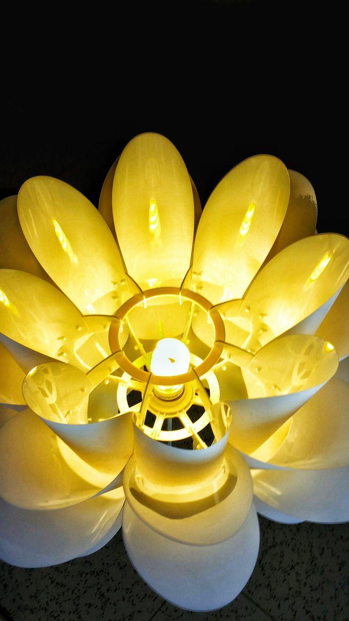yellow, illuminated, indoors, no people, close-up, electricity, black background, night