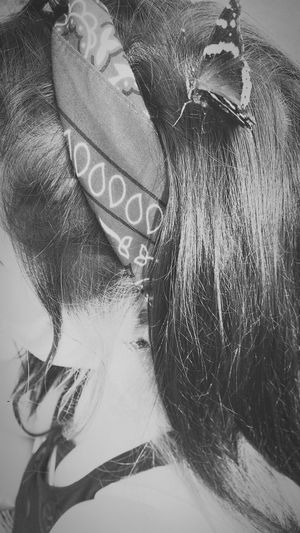So this happened last night. 😊 Bestfriend Butterfly Hair Bandana Amazing Unintentional Beautiful Blackandwhite Blackandwhite Photography
