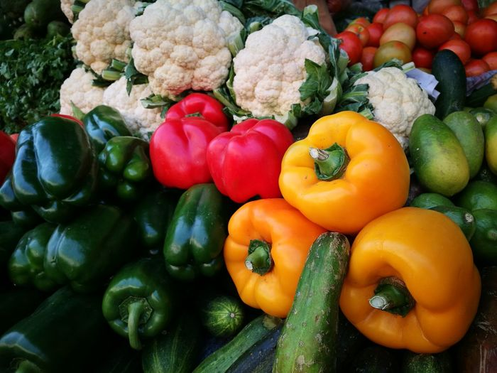 Close-up of various vegetables at market stall for sale