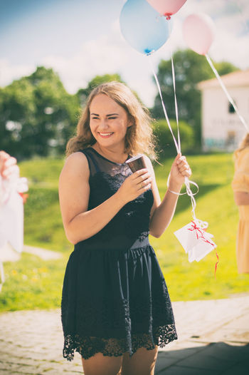 Adult Adults Only Balloon Beauty Bouquet Bride Celebration Cheerful Day Event Fragility Happiness Holding Life Events Nature Outdoors Party - Social Event People Portrait Sky Smiling Summer Women Young Adult Young Women