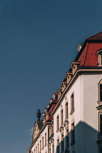 Blue sky on neumarkt, leipzig, germany