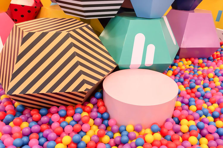 Abundance Arts Culture And Entertainment Balloon Candy Celebration Choice Container Food High Angle View Indoors  Large Group Of Objects Leisure Games Multi Colored No People Shape Sphere Still Life Sweet Food Table Variation