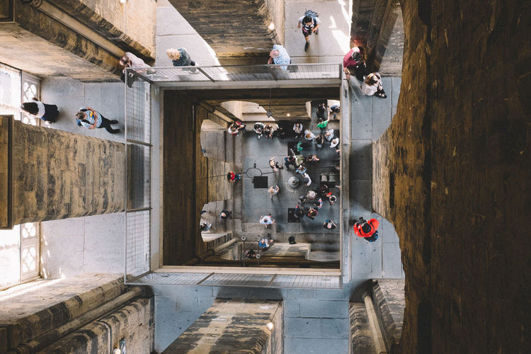High angle view of people at giottos bell tower