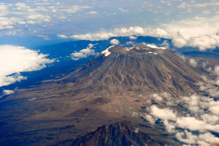 Kilimanjaro - aerial view of volcanic landscape against sky