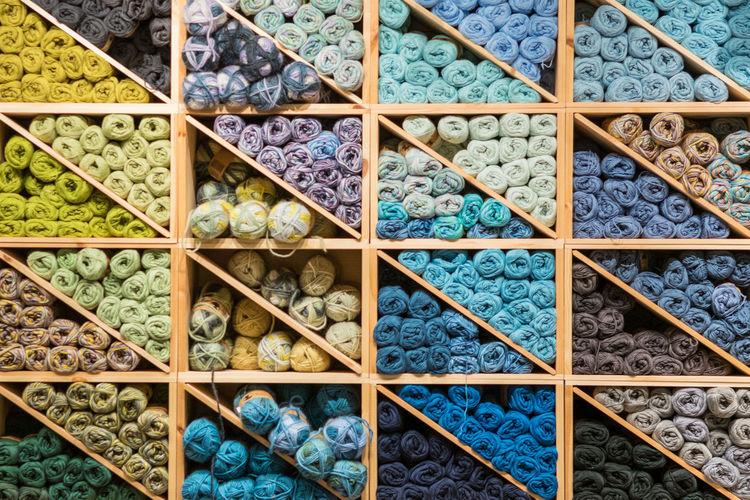 Full frame shot of wool in shelf
