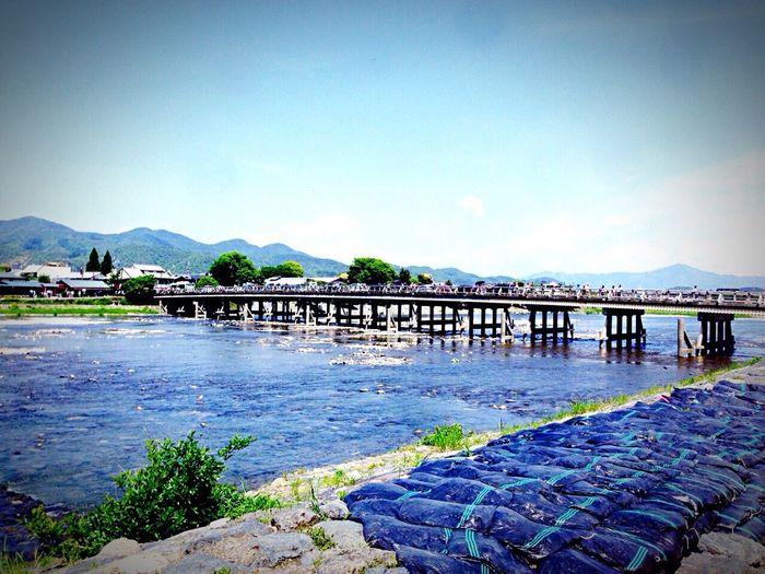 Kyoto Japan Arashiyama Togetukyou Bridge River Blue Sky Summer 京都 日本 嵐山 渡月橋 橋 空 夏