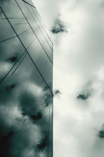Cloud - Sky Sky Sky And Clouds Reflections Reflection Photography Windows Building Exterior Buildings & Sky Buildings Perspective Personal Perspective Blackandwhite Black & White Darkness And Light Dark Dark Photography Apocalyptic Visions Apocalyptic Vertical Symmetry Vertical Panorama Vertical Lines Vertigo Lines&Design Lines And Lights Dirt