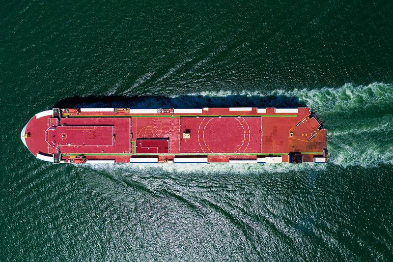 High angle view of red ship on sea
