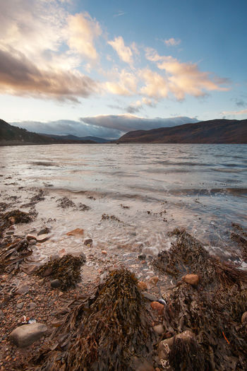 Ullapool, Scotland: the sea at sunrise Water Sea Scenics - Nature Beauty In Nature Tranquil Scene Sky Tranquility Outdoors Nature Cloud - Sky No People Sunrise Sunset Waterfront Colorful Ullapool Loch Broom Landscape
