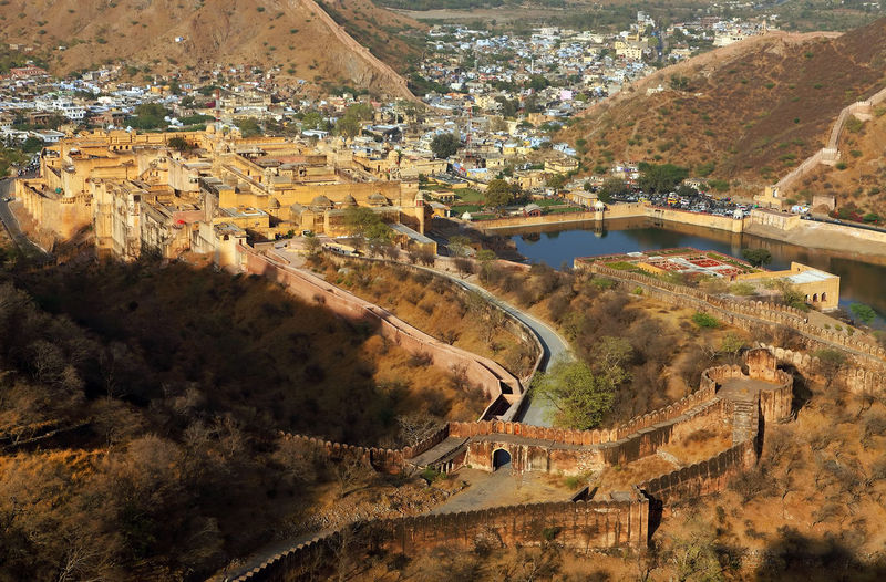 Aerial view of jaigarh fort and mountains