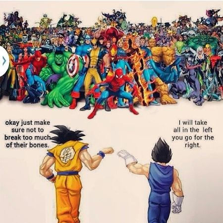 Songoku Cadic Saiyan Dragonball vs all superheros kill'em ??? I vote for Songoku , always WINS !!!