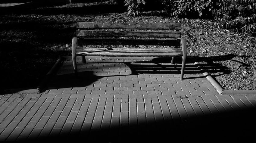 Bench Absence Architecture Bench Blackandwhite Blakck And White Built Structure Day Empty Footpath High Angle View Monochrome Nature No People Outdoors Park - Man Made Space Park Bench Plant Relaxation Seat Shadow Solitude Sunlight Wood Wood - Material