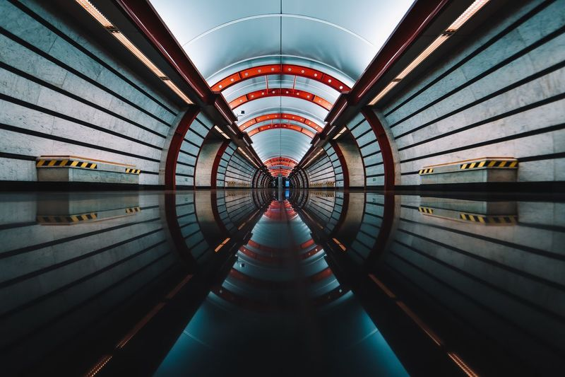 Architecture Built Structure Indoors  No People Diminishing Perspective The Way Forward Direction Bridge Illuminated Pattern Railing Water Metal Transportation Nature Day Travel Destinations Ceiling