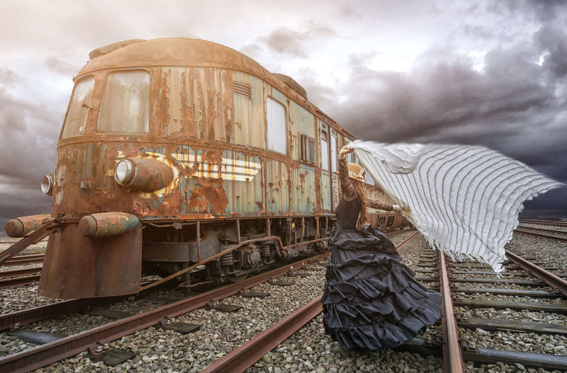 Abandoned Cloud - Sky Day Dress Land Vehicle Nature No People Outdoors Rusty Sky Train Wind Woman